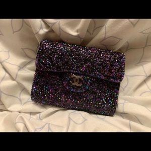 NFS Chanel iridescent purple strassed card holder